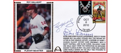 Halladay, Roy/Larsen, Don Combo - Playoff No-Hitter (SOLD OUT - ONLY 3 REMAIN  - NO DISCOUNTS)