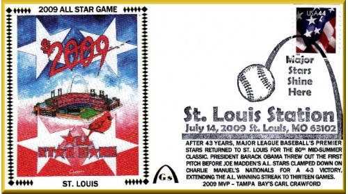 All-Star 2009 Artpiece #3 -Red Background With Busch Stadium (#6 Envelope) Unautographed