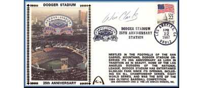 Dodger Stadium 25th Anniversary (April 12th Flag Stamp) Autographed By Wil Clark