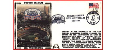 Dodger Stadium 25th Anniversary (April 11th Red Pan Am Stamp) Unautographed
