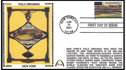 Legendary Playing Fields FDC Polo Grounds (Unautographed) Hand Cancel