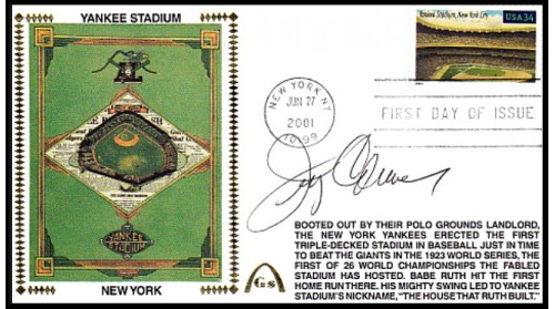 Legendary Playing Fields FDC Yankee Stadium Jerry Coleman (Machine Cancel)