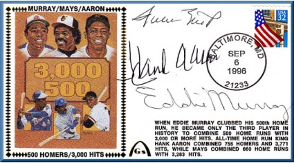Aaron, Hank/Mays, Willie/Murray, Eddie (500/3,000)