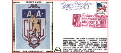 "Ladies In Baseball  50th Anniversary  ""Pepper"" Parie Davis (Dark Red Postmark)"
