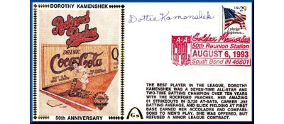 Ladies In Baseball 50th Anniversary Dorothy Kamenshek, (Darker Red Postmark)