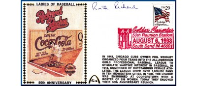 Ladies In Baseball  50th Anniversary  Ruth Richard  (Dark Red Postmark)