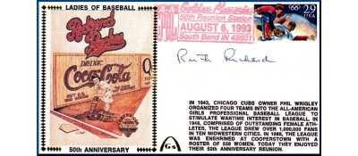 Ladies In Baseball  50th Anniversary  Ruth Richard  (Lighter Red Postmark)