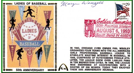 Ladies In Baseball  50th Anniversary  Marge Wenzell  (Dark Red Postmark)