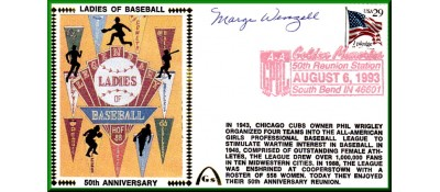 Ladies In Baseball  50th Anniversary  Marge Wenzell  (Lighter Red Postmark)