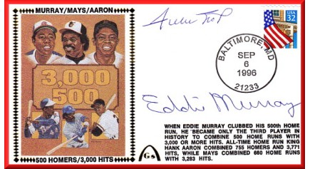 Aaron, Hank/Mays, Willie/Murray, Eddie (500/3,000)  Autographed By Mays & Murray Only