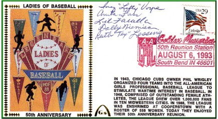 Ladies In Baseball 50th Anniversary Foss/Voyce/Faralla/Niemiec/Lessing (Darker Red Postmark)