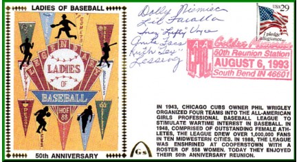 Ladies In Baseball 50th Anniversary Foss/Voyce/Faralla/Niemiec/Lessing (Lighter Red Postmark)
