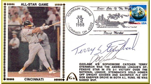 All-Star 1988 Terry Steinbach/Dwight Gooden Autographs  (Steinbach Silk)