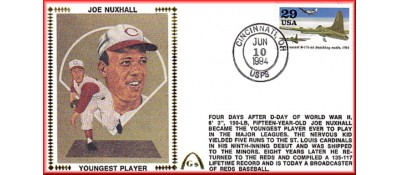 Nuxhall, Joe 50th Anniversary Youngest Player In MLB - Unauto. B-17 Raids Stamp