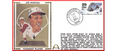 Nuxhall, Joe 50th Anniversary Youngest Player In MLB  - Unauto. Battle Of Bulge Stamp