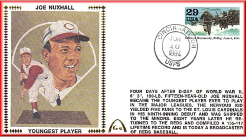 Nuxhall, Joe 50th Anniversary Youngest Player In MLB  - Unauto. D-Day Stamp