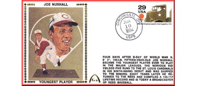 Nuxhall, Joe 50th Anniversary Youngest Player In MLB  - Unauto. Red Ball Express Stamp