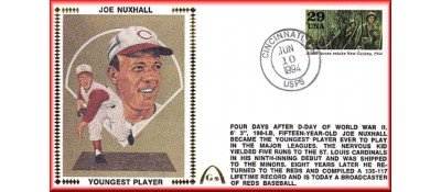 Nuxhall, Joe 50th Anniversary Youngest Player In MLB  - Unauto.  - New Guinea Stamp