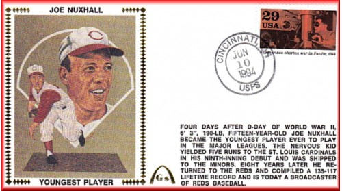 Nuxhall, Joe 50th Anniversary Youngest Player In MLB  - Unauto. War In Pacific Stamp