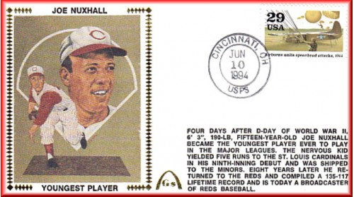 Nuxhall, Joe 50th Anniversary Youngest Player In MLB  - Unauto -  Spearhead Stamp