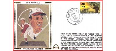 Nuxhall, Joe 50th Anniversary Youngest Player In MLB  - Unauto. - Layte Gulf Stamp