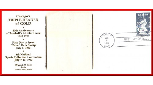 Averill, Earl - Chicago Triple-Header FDC (Averill Card) Unautographed