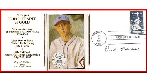Chicago Triple-Header FDC Autographed By Dick Bartell - (Bartell Card)