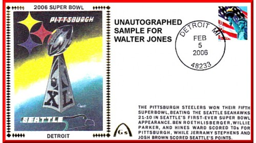 2006 Super Bowl  Scot ForstArtpiece, Autographed By Walter Jones (Pre-Order) - FEW LEFT