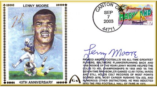 Moore. Lenny 40th Anniversary Football Hall of Fame (Few Autographs Remain In Stock)