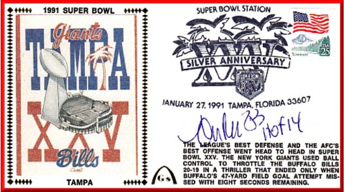 Super Bowl 1991 Forst Artwork Autographed By Andre Reed