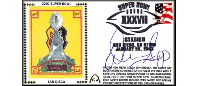 Super Bowl 2003 Artpiece (Warren Sapp Autograph)