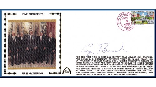 1st Gathering Of Five Presidents (Auto By Pres. H.W.Bush)