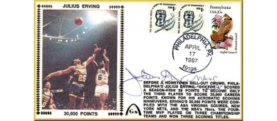 "Erving, Julius ""Dr. J"" , 30,000 Points (Variation) Autograph Under Silk & PA $.20 + $.02 Freedom Stamp"