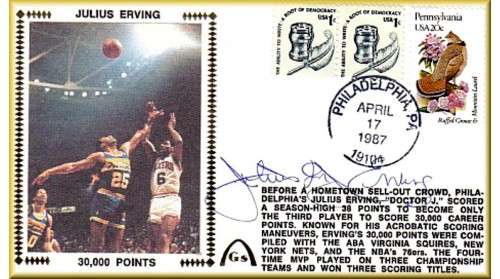 "Erving, Julius ""Dr. J"" , 30,000 Points With Special PA $.20 Stamp + $02 Freedom Stamp"