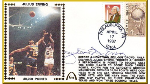 "Erving, Julius ""Dr. J"" (30,000 Points) SOLD OUT - Basketball Stamp"
