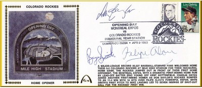 Colorado Rockies Home Opener (Autos By D Baylor/B. Smith & F.Alou) #10 Envelope