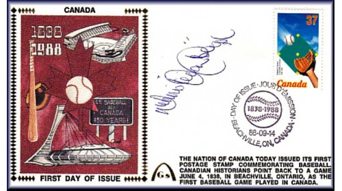 "Canada Baseball FDC Autographed By Dennis ""Oil Can""Boyd,  (Correct Postmartt)"