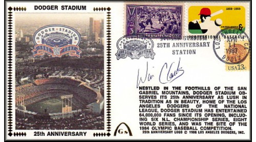 Dodger Stadium 25th Anniversary (April 11th Baseball Stamp) Autographed By Wil Clark (SOLD OUT - One Left, NO Discount)