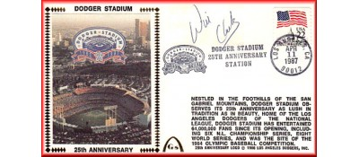 Dodger Stadium 25th Anniversary (April 11th Flag Stamp) Autographed By Wil Clark