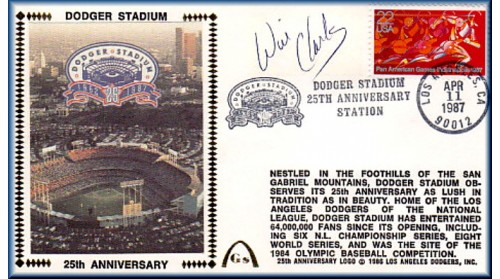 Dodger Stadium 25th Anniversary (April 11th Red Pan Am Stamp) Autographed By Wil Clark
