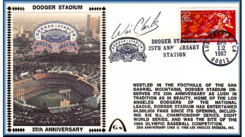 Dodger Stadium 25th Anniversary (April 12th Red Pan Am Stamp) Autographed By Wil Clark
