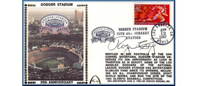 Dodger Stadium 25th Anniversary (April 12th Red Pan Am Stamp) Autographed By Roger Craig