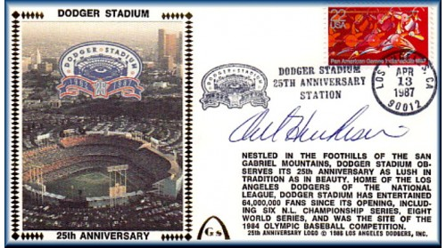 Dodger Stadium 25th Anniversary (April 13th Red Pan Am Stamp) Autographed By Orel Hershiser (SOLD OUT - ONLY Two Left, NO Discount)
