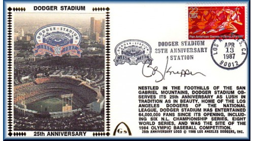 Dodger Stadium 25th Anniversary (April 13th Red Pan Am Stamp) Autographed By Bob Knepper