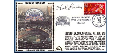 Dodger Stadium 25th Anniversary (April 13th Red Pan Am Stamp) Autographed By Hal Lanier