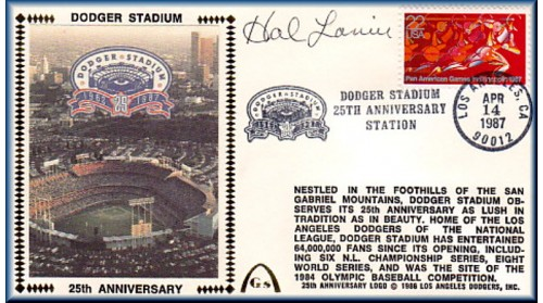 Dodger Stadium 25th Anniversary (April 14th Red Pan Am Stamp) Autographed By Hal Lanier