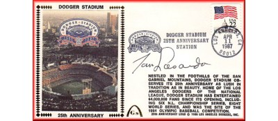 Dodger Stadium 25th Anniversary (April 11th Flag Stamp) Autographed By Tommy Lasorda