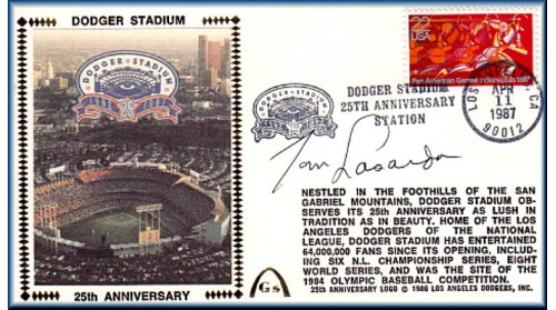 Dodger Stadium 25th Anniversary (April 11th Red Pan Am Stamp) Autographed By Tommy Lasorda