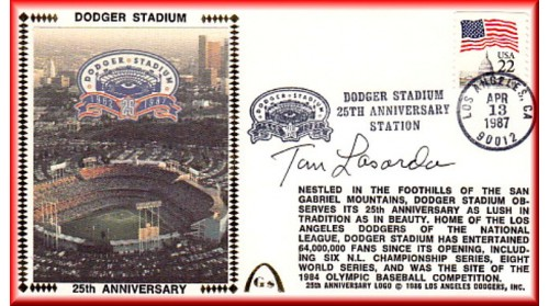 Dodger Stadium 25th Anniversary (April 13th Flag Stamp) Autographed By Tommy Lasorda