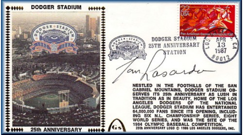 Dodger Stadium 25th Anniversary (April 13th Red Pan Am Stamp) Autographed By Tommy Lasorda